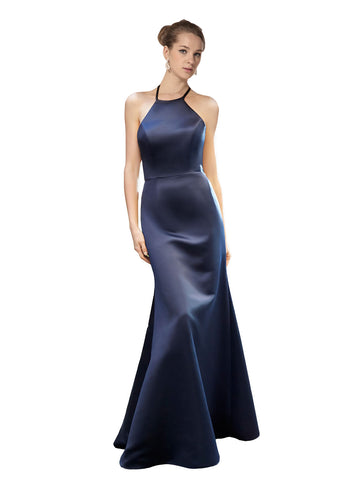 Mila Gowns Bridesmaid Dress Katalina Bridesmaid Dress, Dark Navy Mermaid Halter Floor Length Long Satin Sleeveless Bridesmaid Dress