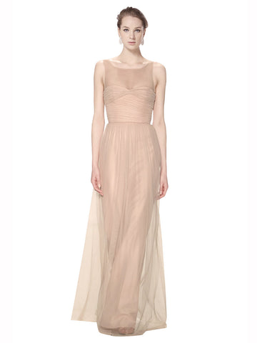 Mila Gowns Bridesmaid Dress Kailey Bridesmaid Dress, Blush 95# Sheath Illusion, Sweetheart, High Neck Floor Length Long Tulle Bridesmaid Dress