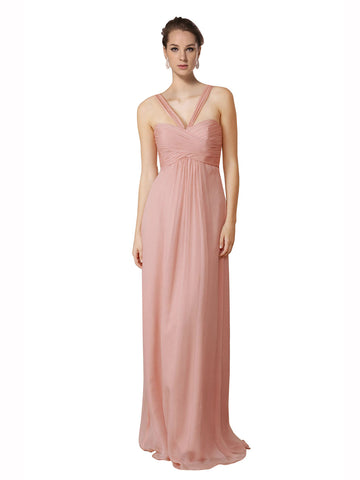 Mila Gowns Bridesmaid Dress Amirah Bridesmaid Dress, Blush Pink A-Line Sweetheart Floor Length Long Chiffon Sleeveless Bridesmaid Dress