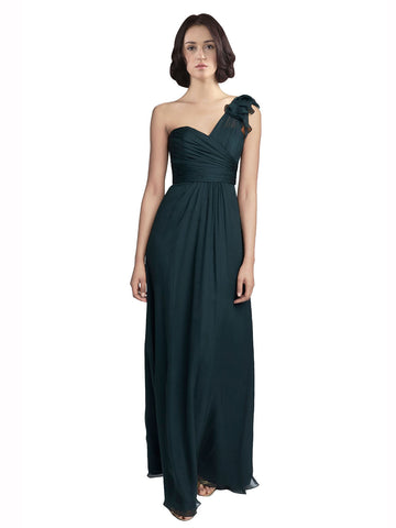 Mila Gowns Bridesmaid Dress Kaylie Bridesmaid Dress, 148# A-Line Sweetheart, One Shoulder Floor Length Long Chiffon Sleeveless Bridesmaid Dress