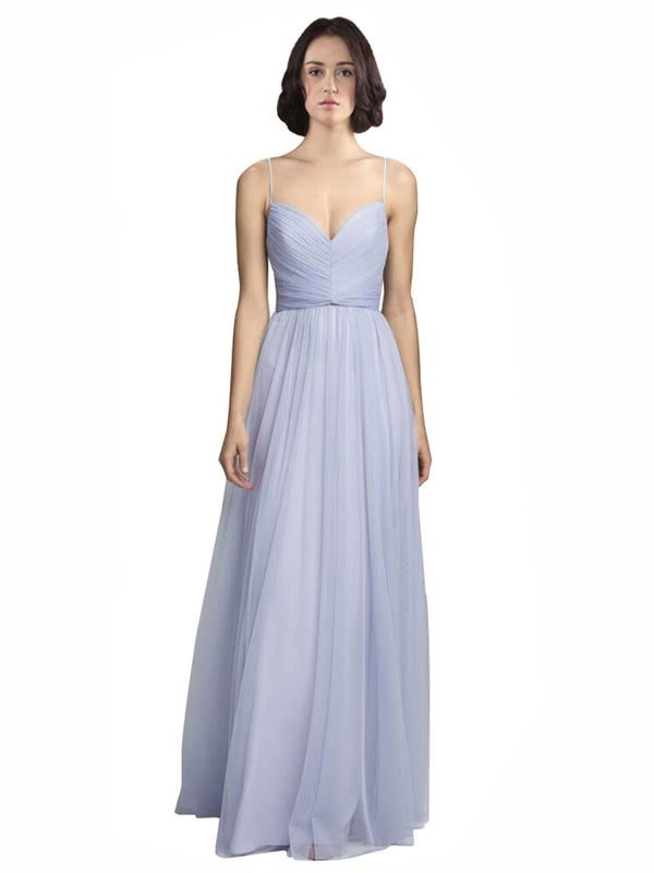 Mila Gowns Bridesmaid Dress Roselyn Bridesmaid Dress, Lilac A-Line Spaghetti Straps, Sweetheart Floor Length Long Tulle Bridesmaid Dress