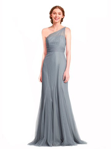 Mila Gowns Bridesmaid Dress Rosie Bridesmaid Dress, Slate Grey Mermaid One Shoulder Floor Length Long Tulle Bridesmaid Dress
