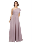 Mila Gowns Josephine Long A-Line One Shoulder Chiffon Pink 147# Bridesmaid Dress 174116