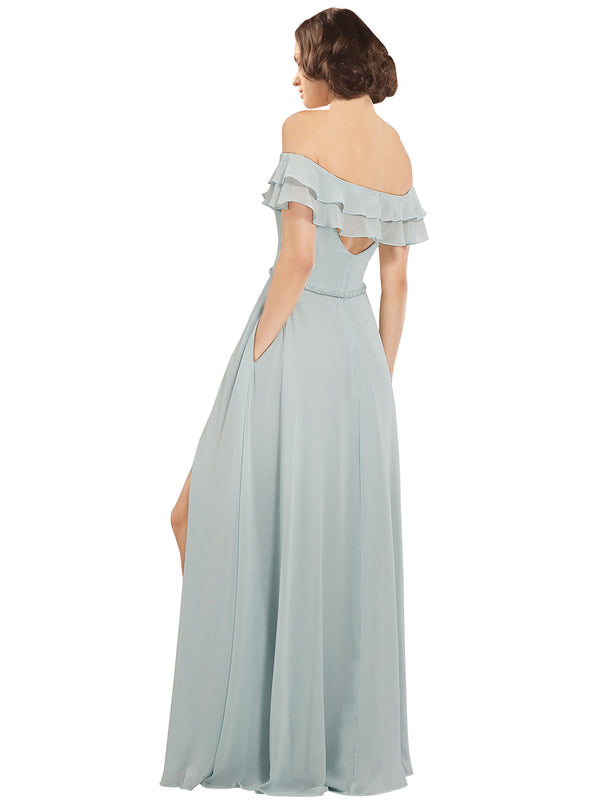 Mila Gowns Annabelle Long A-Line Off the Shoulder Chiffon Blue 65# Bridesmaid Dress 174120