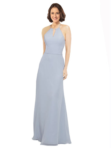 Mila Gowns Kylie Long A-Line Halter Spaghetti Staps Chiffon Light Sky Blue Bridesmaid Dress 174121