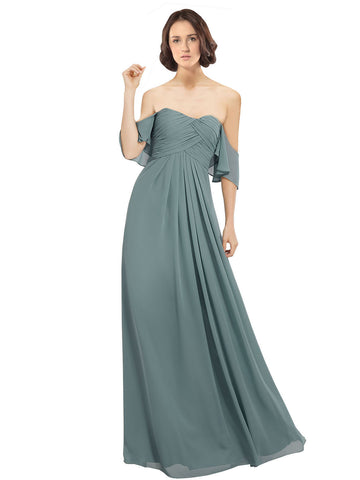 Mila Gowns Katherine Long A-Line Off the Shoulder Chiffon Icelandic Silver Bridesmaid Dress 174126