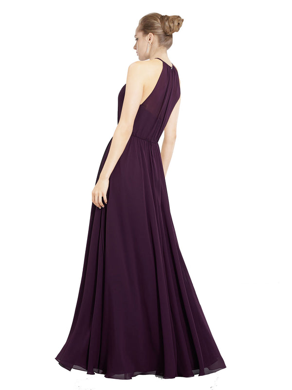 Mila Gowns Taylor Long A-Line Halter Chiffon Grape Bridesmaid Dress 174127