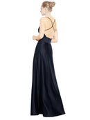 Mila Gowns Mary Long A-Line V-Neck Spaghetti Staps Satin Dark Navy Bridesmaid Dress 174128