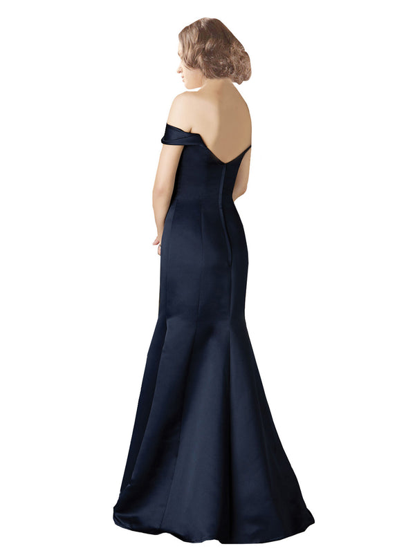 Mila Gowns Bailey Long Mermaid Fit and Flare Off the Shoulder V-Neck Satin Dark Navy Bridesmaid Dress 174129