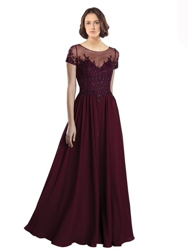 Mila Gowns Ashley Long A-Line Jewel Tulle Chiffon Burgundy Bridesmaid Dress 174130