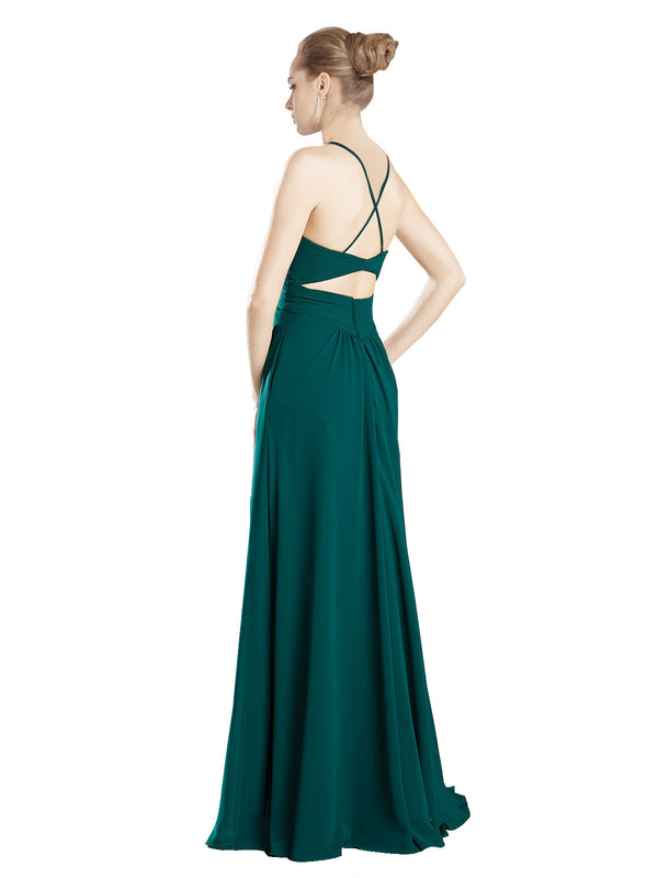 Mila Gowns Hadley Long A-Line V-Neck Spaghetti Staps Chiffon Hunter Green Bridesmaid Dress 174131