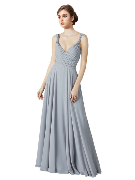 Mila Gowns Alexandra Long A-Line V-Neck Chiffon Silver Bridesmaid Dress 174133