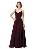 Mila Gowns Rylee Long A-Line V-Neck Spaghetti Staps Chiffon Burgundy Bridesmaid Dress 174136