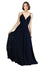 Mila Gowns Natalia Long A-Line V-Neck Spaghetti Staps Chiffon Dark Navy Bridesmaid Dress 174138