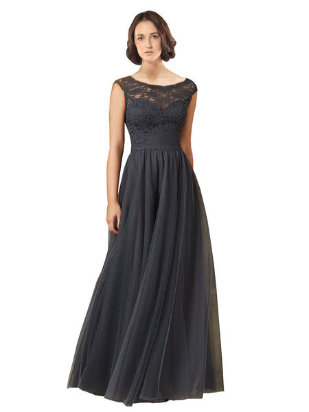 Mila Gowns Lyla Long A-Line Illusion Neckline Tulle,Lace Slate Grey Bridesmaid Dress 174139