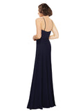 Mila Gowns Khloe Long Sheath Scoop Spaghetti Staps Chiffon Dark Navy Bridesmaid Dress 174145