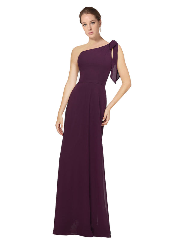 Mila Gowns Rose Long A-Line One Shoulder Chiffon Grape Bridesmaid Dress 174148