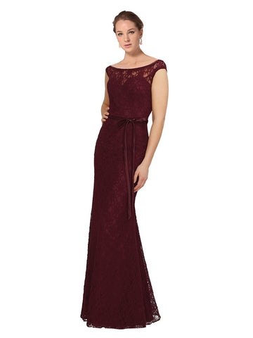 Mila Gowns Melody Long Sheath Bateau Lace Burgundy Bridesmaid Dress 174150