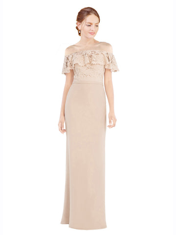 Mila Gowns Perla Long A-Line Off the Shoulder Chiffon Lace Champagne Bridesmaid Dress 174300