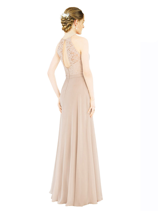 Mila Gowns Lailah Long A-Line Halter High Neck Chiffon Lace Champagne Bridesmaid Dress 174301