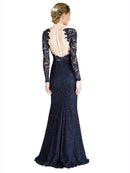 Mila Gowns Avalynn Long Mermaid Fit and Flare Sweetheart Lace Dark Navy Bridesmaid Dress 174306
