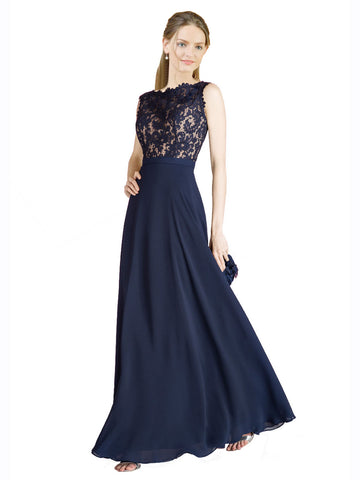 Mila Gowns Romina Long A-Line Illusion Neckline Chiffon Lace Dark Navy Bridesmaid Dress 174307