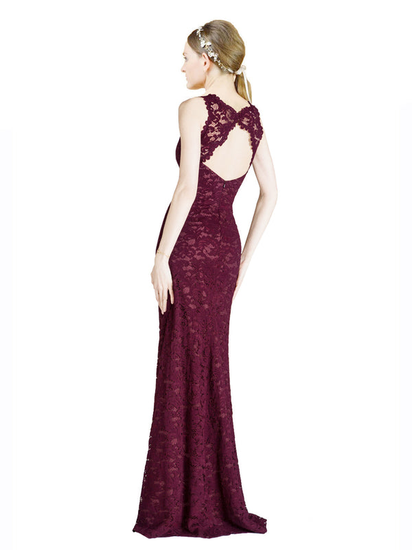 Mila Gowns Ari Long A-Line Illusion Neckline High Neck Lace Burgundy Bridesmaid Dress 174308