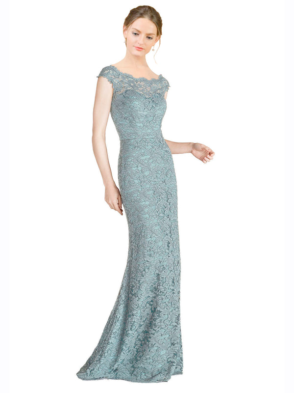 Mila Gowns Kai Long Mermaid Fit and Flare Off the Shoulder Lace Blue 97# Bridesmaid Dress 174312