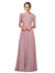 Mila Gowns Louise Long A-Line Off the Shoulder Chiffon Lace Pink 147# Bridesmaid Dress 174313