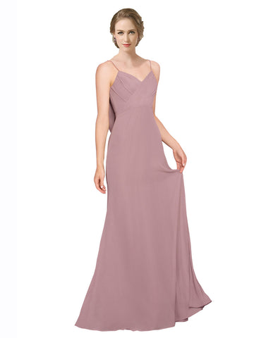 Mila Gowns Mavis Long A-Line Spaghetti Straps Sweetheart Chiffon Pink 147# Bridesmaid Dress 174314