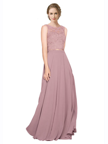 Mila Gowns Rivka Long A-Line Illusion Neckline Chiffon Lace Pink 147# Bridesmaid Dress 174318