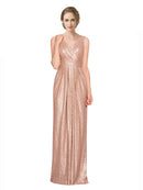 Mila Gowns Ayleen Long Sheath V-Neck Sequin Rose Gold Bridesmaid Dress 174319