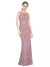 Mila Gowns Calliope Long Mermaid Fit and Flare Illusion Neckline Lace Pink 68# Bridesmaid Dress 174320
