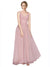 Mila Gowns Dalary Long A-Line V-Neck Tulle Pink Bridesmaid Dress 174321