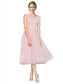Mila Gowns Zaniyah Long A-Line V-Neck Tulle Pink Bridesmaid Dress 174322