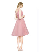 Mila Gowns Kaelyn Long A-Line V-Neck Tulle Pink Bridesmaid Dress 174323