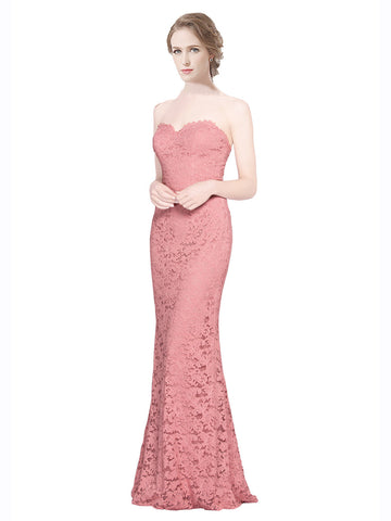 Mila Gowns Joselyn Long Mermaid Fit and Flare Strapless Sweetheart Lace Pink Bridesmaid Dress 174324
