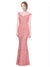 Mila Gowns Paola Long Mermaid Fit and Flare Strapless Sweetheart Lace Pink Bridesmaid Dress 174326