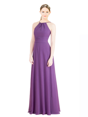 Mila Gowns Aubriella Long A-Line Halter High Neck Chiffon Dahlia Bridesmaid Dress 174329