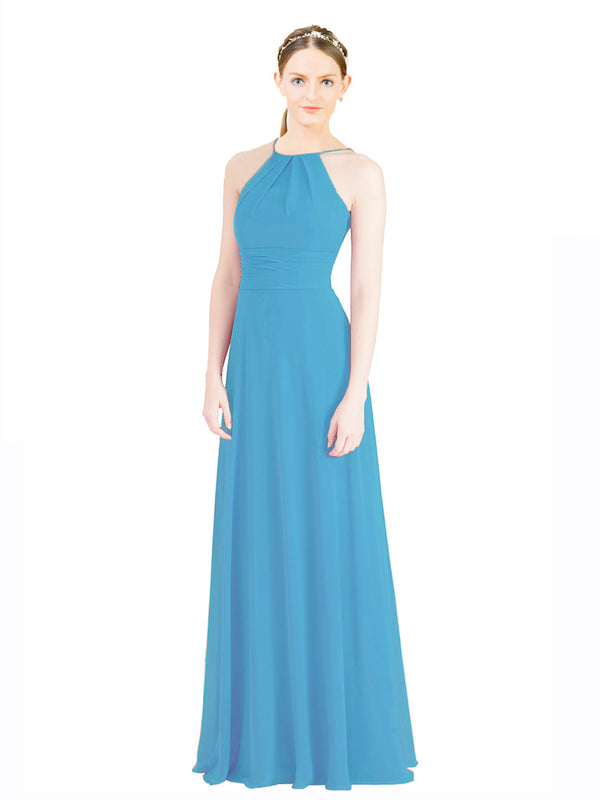 Mila Gowns Aubriella Long A-Line Halter High Neck Chiffon Ice Blue Bridesmaid Dress 174329