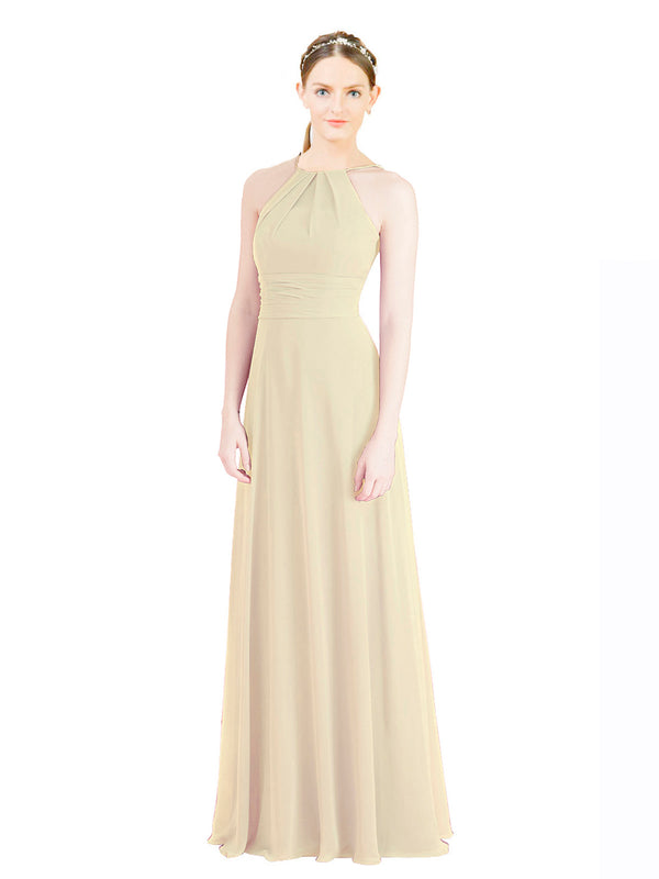 Mila Gowns Aubriella Long A-Line Halter High Neck Chiffon Ivory Gold Bridesmaid Dress 174329