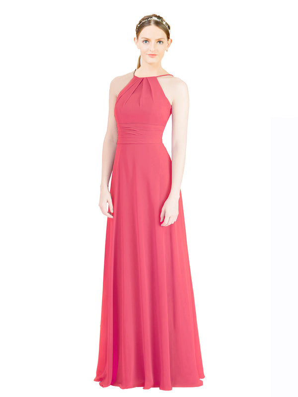 Mila Gowns Aubriella Long A-Line Halter High Neck Chiffon Peony Bridesmaid Dress 174329