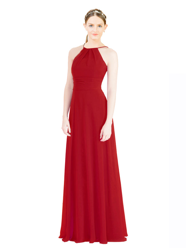 Mila Gowns Aubriella Long A-Line Halter High Neck Chiffon Red Bridesmaid Dress 174329
