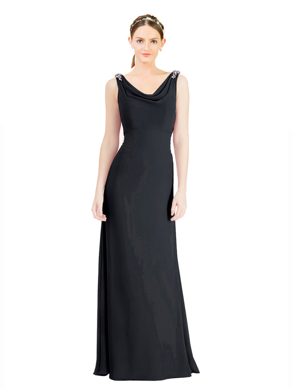 Mila Gowns Azariah Long A-Line Jewel Chiffon Black Bridesmaid Dress 174330