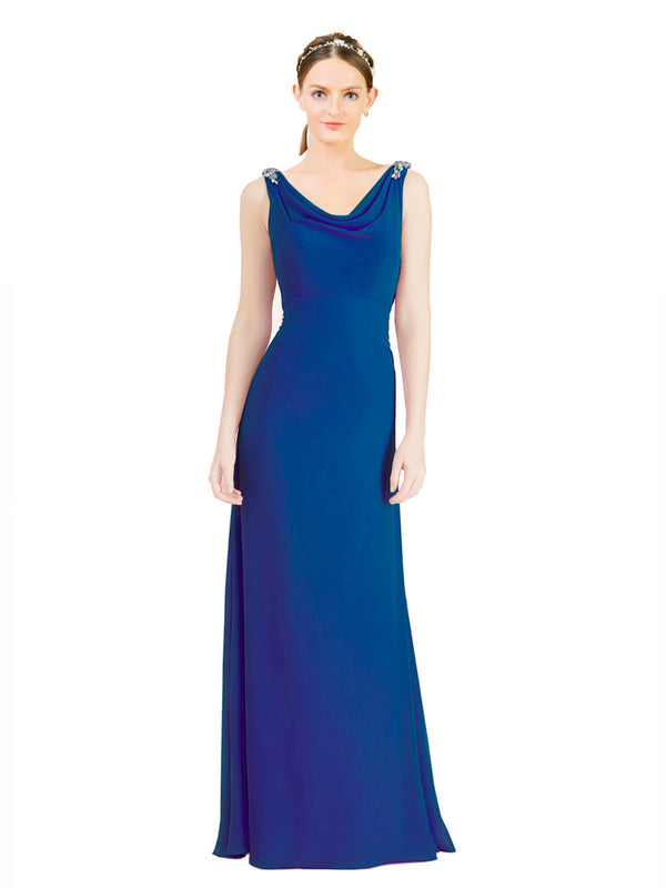 Mila Gowns Azariah Long A-Line Jewel Chiffon Blue 135# Bridesmaid Dress 174330