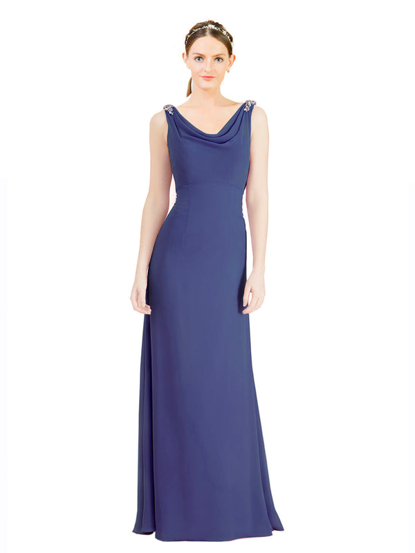 Mila Gowns Azariah Long A-Line Jewel Chiffon Blue 28# Bridesmaid Dress 174330