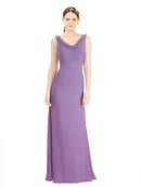 Mila Gowns Azariah Long A-Line Jewel Chiffon Dahlia Bridesmaid Dress 174330
