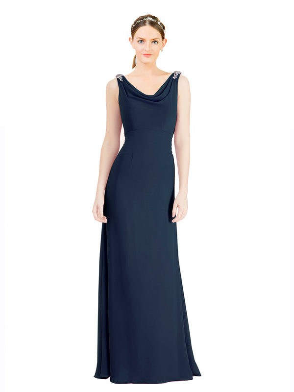 Mila Gowns Azariah Long A-Line Jewel Chiffon Dark Navy Bridesmaid Dress 174330