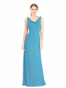 Mila Gowns Azariah Long A-Line Jewel Chiffon Ice Blue Bridesmaid Dress 174330