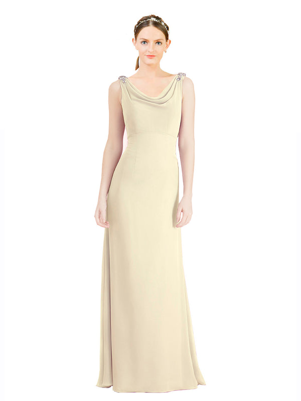 Mila Gowns Azariah Long A-Line Jewel Chiffon Ivory Gold Bridesmaid Dress 174330
